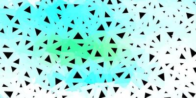 Light blue and green triangular mosaic background.