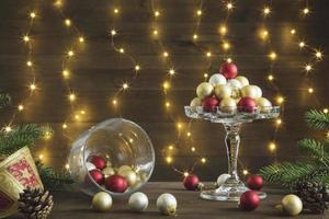 Christmas baubles on cake stand