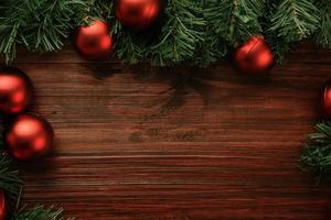 Christmas decor border on wooden table