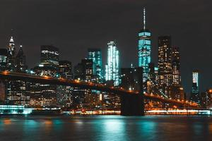 The Brooklyn Bridge at nighttime