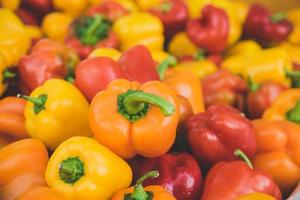 Yellow, orange and red bell peppers