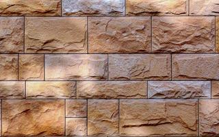 Decorative wall from rectangular brown tiles