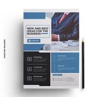 folleto comercial listo para imprimir en azul, negro y gris