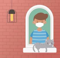 Boy with cat on the window vector