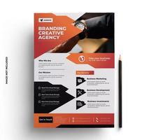 Plantilla de volante de negocios degradado naranja, negro y gris vector