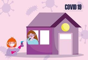 Girl with viral infection in the house vector