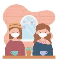 Young women wearing face masks indoors vector