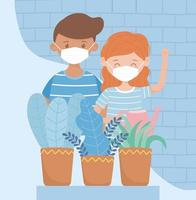 Young kids with face masks and potted plants vector