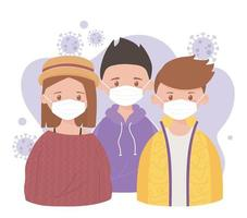 Young people wearing face masks vector
