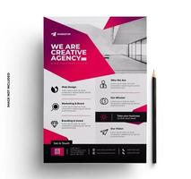 Pink Red Corporate Business Flyer Layout Design vector