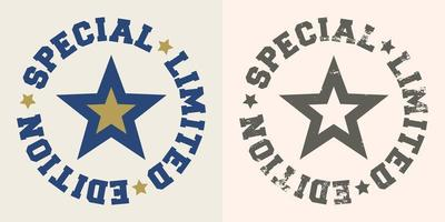 Special limited edition stamp with star for t-shirts vector
