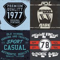Set of vintage design prints for t-shirts vector