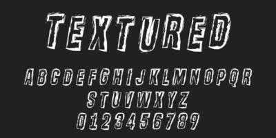 Distressed texture stroke alphabet letters and numbers