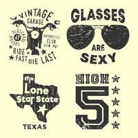 conjunto de varios sellos estampados de camisetas vintage