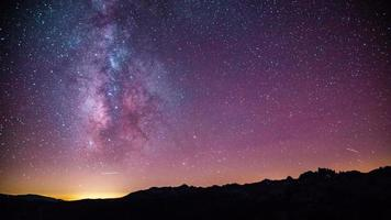Time Lapse - Beautiful Milky Way Galaxy above Mountain Range video