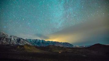 Time Lapse - Milky Way Galaxy Over the Snowy Mountain Range video