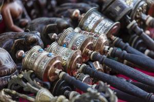 Nepalese Prayer Wheels on Swayambhunath stupa in Kathmandu
