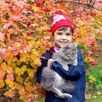 Little girl hugging a cat photo