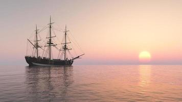 Sailing ship at anchor photo
