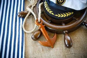 Decorative wooden ship anchored at the helm photo