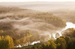 Fog over Neris river in Lithuania
