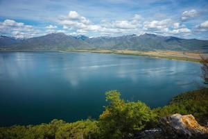 Scenic view of the mountains and Lake Prespa, Greece