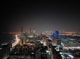 View of the nighttime skyline in Abu Dhabi