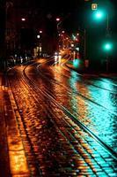 Quiet Prague street at night