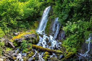 Photo of waterfall in green mountains