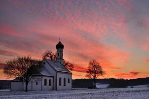 Traditional Bavarian Church at Sunrinse photo