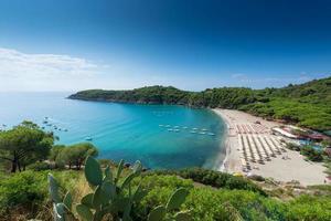 beach with sun umbrellas in wonderful bay of elba italy photo