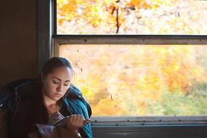 Girl draws in train