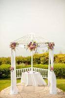 wedding ceremony alter under Gazebo