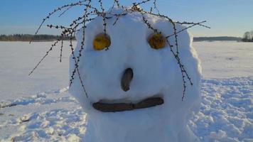 das große Gesicht des Schneemanns