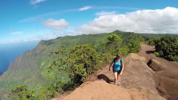 Joven deportista caminando por el sendero de alta montaña con impresionantes vistas al mar video
