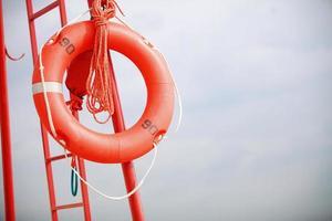 Lifeguard beach rescue equipment orange lifebuoy