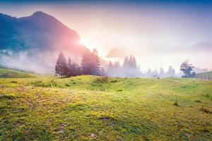 Colorful sunrise in the foggy summer mountains