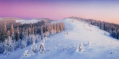 Mysterious sunset in the mountains. Carpathian, Ukraine, Europe.