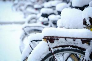 Bicycle with snow