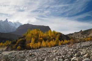 Mountains in autumn near Hussaini Village,Pakistan