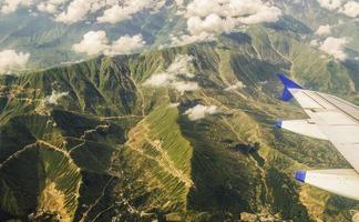 Vista aérea del Himalaya desde el avión, Cachemira, India
