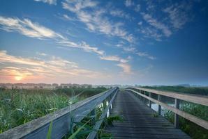 Encantador puente de madera sobre el río al amanecer brumoso