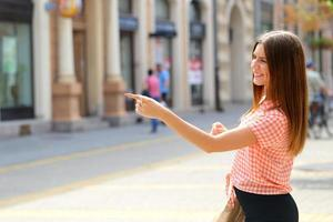 pointing on walking street