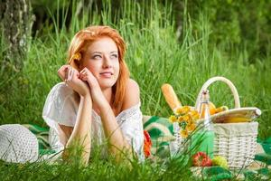 Young woman on a summer picnic