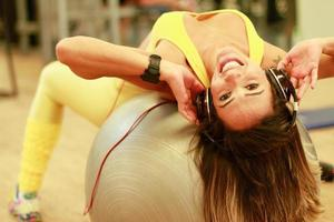 woman in ball pilates photo