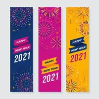 Happy New Year with Fireworks Banner