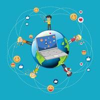 Children with social media elements around world vector