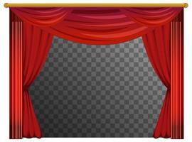 Red curtains with transparent background vector