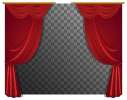 Red curtains with rod with transparent background