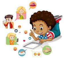 chico con elementos de redes sociales vector